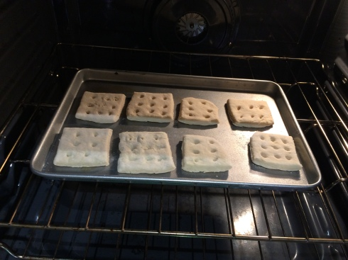 Raw hardtack ready for baking.